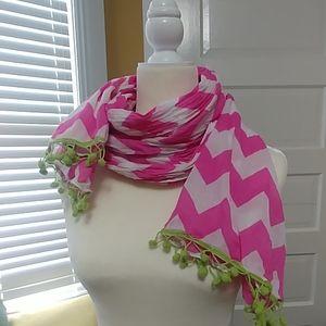 White Pink Chevron scarf